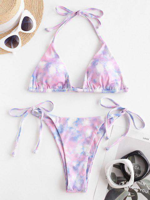 women's ZAFUL Sweet Catcher Tie Dye Ribbed Bikini Swimwear - LIGHT PURPLE S Mobile