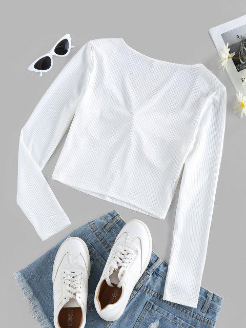 ZAFUL T-shirt Côtelé Col en Forme de Cœur - Blanc Lait XL Mobile
