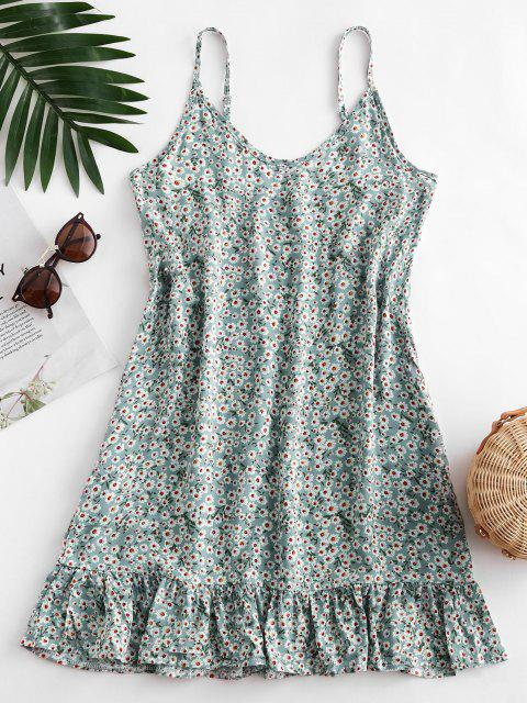 shops Ditsy Print Flounce Hem Mini Dress - PALE BLUE LILY M Mobile