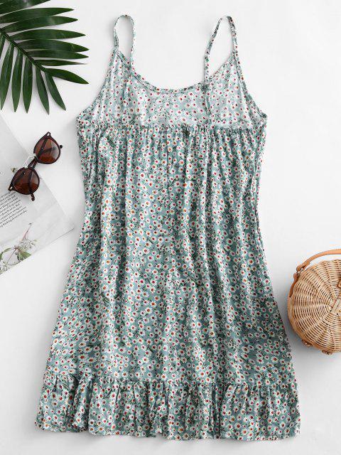 fancy Ditsy Print Flounce Hem Mini Dress - PALE BLUE LILY L Mobile