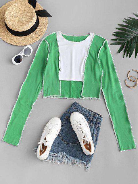 fancy Colorblock Topstitching Flocking Lined Step Hem T Shirt - GREEN M Mobile