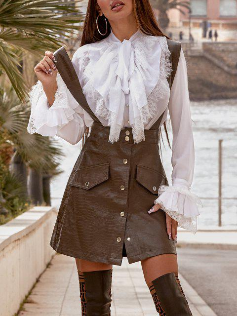 womens Faux Leather Button Fly Suspender Skirt - COFFEE S Mobile