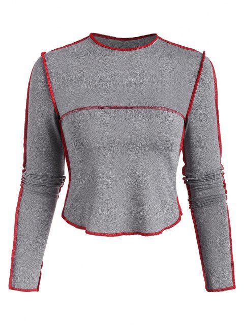 T-shirt Chiné Contrasté Cousu - Gris M Mobile