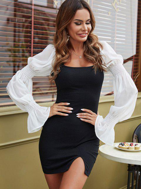buy Ribbed Poet Sleeve Slinky Milkmaid Dress - BLACK S Mobile
