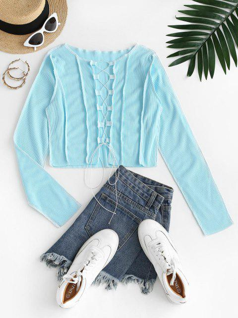 outfit Contrast Stitching Lace Up Ribbed Tee - LIGHT BLUE M Mobile