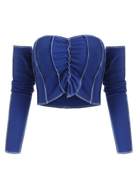 online Rib-knit Topstitching Ruched Tube Top with Long Detachable Sleeves - BLUE M Mobile
