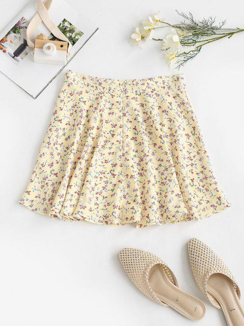 ladies Tiny Floral Swing Mini Skirt - LIGHT YELLOW S Mobile