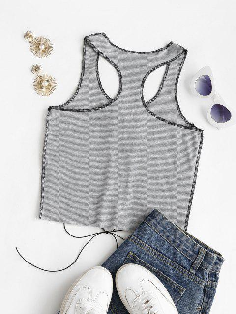 outfits Rib-knit Topstitching Lace-up Racer Tank Top - GRAY L Mobile