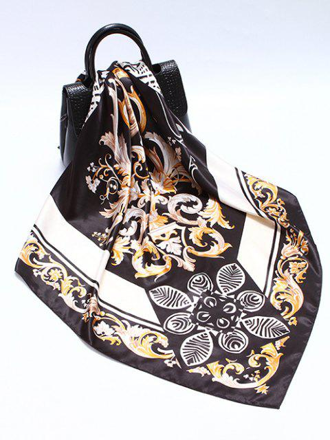 sale Printed Floral Satin Square Scarf - BLACK  Mobile