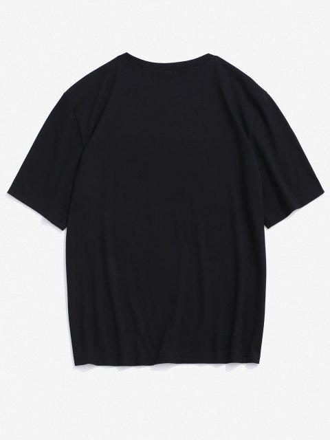 sale Stripes Character David Print Short Sleeve T-shirt - BLACK L Mobile