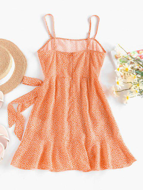 best ZAFUL Ditsy Floral Knot Overlap Flounce Cami Dress - LIGHT ORANGE M Mobile
