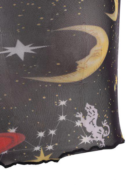 Haut Lune Etoile et Soleil Imprimés à Ourlet en Laitue en Maille - Noir M Mobile