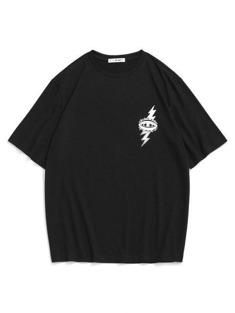 lady Eye Cloud Lightning Print Graphic T-shirt - BLACK L Mobile