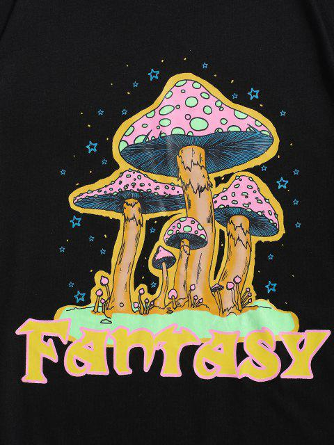 unique Cartoon Mushroom Fantasy Print Graphic T-shirt - BLACK XL Mobile