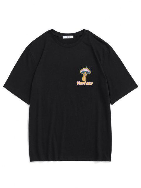 fashion Cartoon Mushroom Fantasy Print Graphic T-shirt - BLACK M Mobile