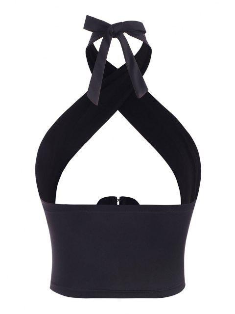 women Halter Hook and Eye Cross-front Crop Top - BLACK S Mobile