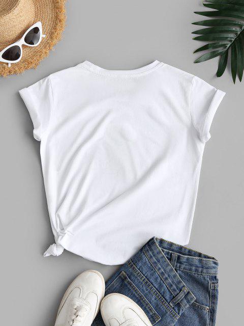 T-Shirt con Ricamo di Pianta - Bianca S Mobile
