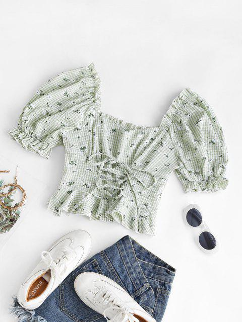 chic Gingham Floral Lace-up Peplum Puff Sleeve Milkmaid Blouse - LIGHT GREEN XS Mobile
