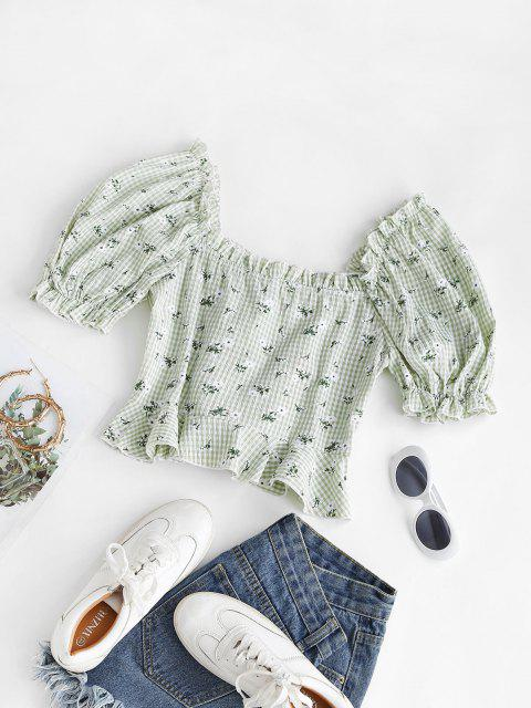 unique Gingham Floral Lace-up Peplum Puff Sleeve Milkmaid Blouse - LIGHT GREEN M Mobile