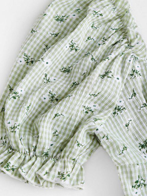 hot Gingham Floral Lace-up Peplum Puff Sleeve Milkmaid Blouse - LIGHT GREEN L Mobile