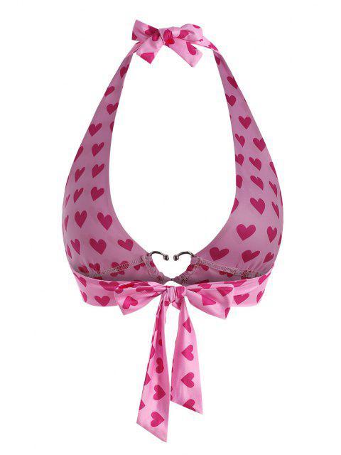 Top Bralette Stampato a Cuore con Halter in Metallo - Rosa chiaro Taglia unica Mobile