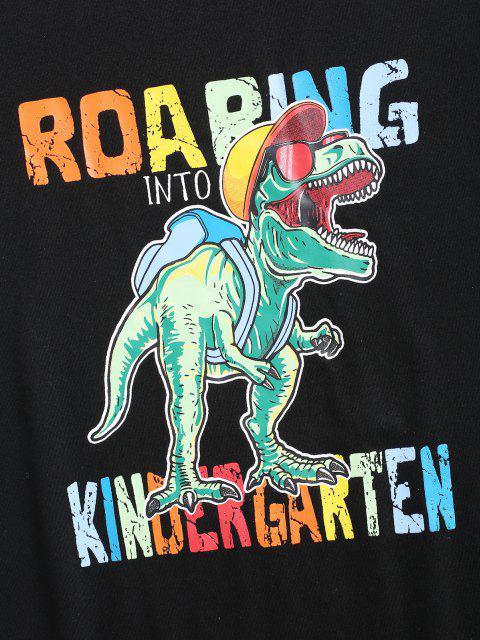 T-shirt con Stampa Grafica Dinosauro di Cartone - Nero S Mobile
