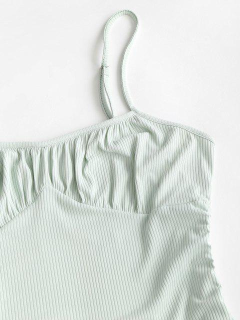 womens ZAFUL Plus Size Rib-knit Cinched Ruched Slinky Bodycon Cami Dress - LIGHT GREEN XL Mobile