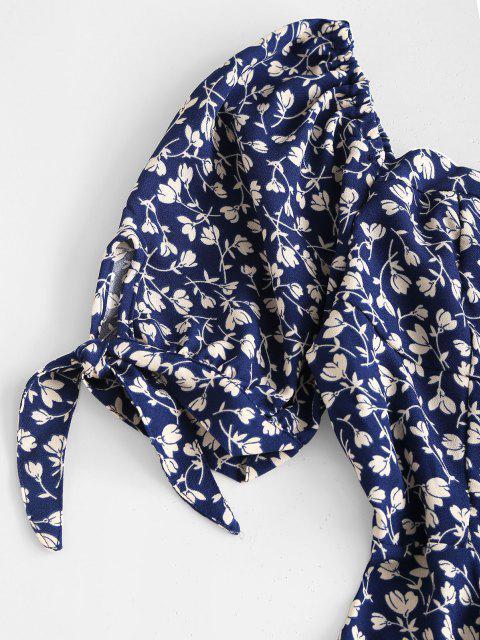 Krawatte Ärmel Kittel Winziges Blumen Kleid - Blau S Mobile