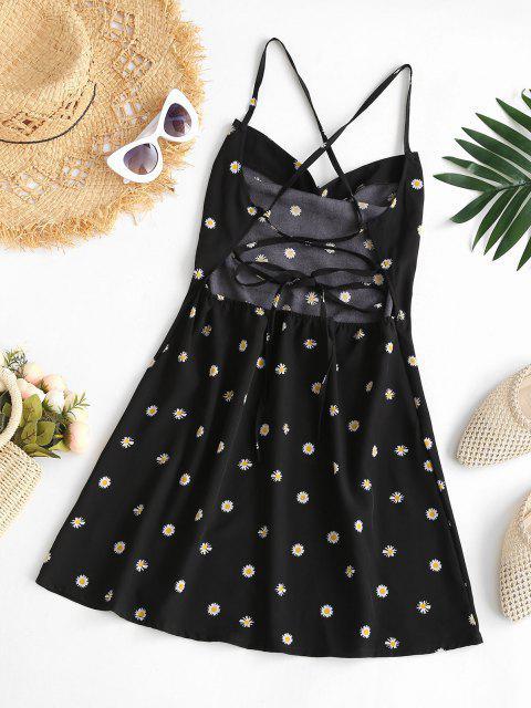 womens Criss Cross Lace Up Daisy Mini Dress - BLACK M Mobile