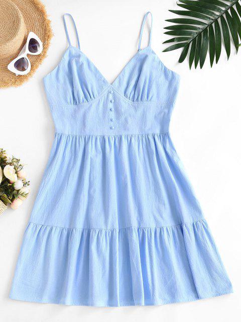 trendy ZAFUL Plus Size Smocked Back Tiered Cami Dress - LIGHT BLUE 2XL Mobile