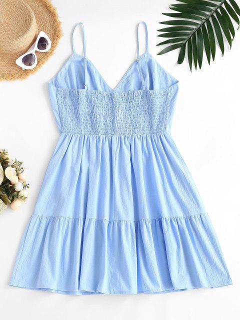 fancy ZAFUL Plus Size Smocked Back Tiered Cami Dress - LIGHT BLUE 5XL Mobile