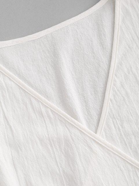 best Surplice Plunging Wrap Waist Blouse - WHITE L Mobile