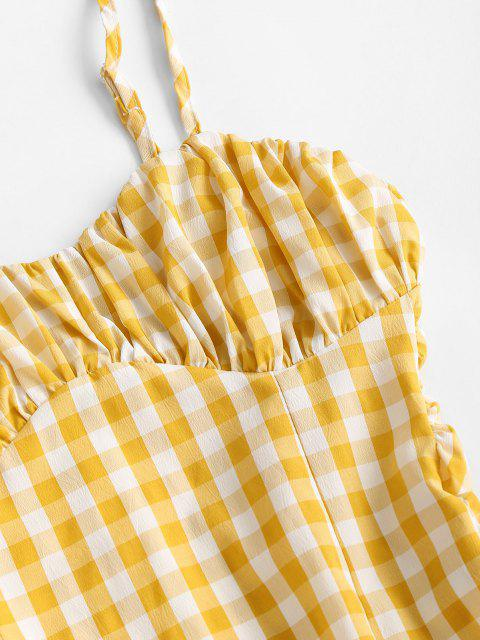 affordable Gingham Ruffled Ruched Cami Bodycon Dress - YELLOW L Mobile