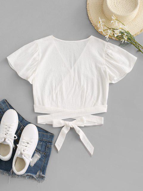 new Surplice Plunging Wrap Waist Blouse - WHITE XL Mobile
