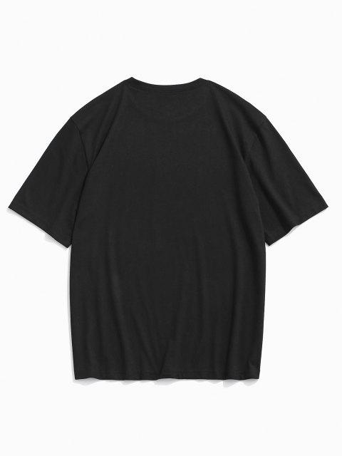 affordable Letter Flower Print Short Sleeve T-shirt - BLACK L Mobile