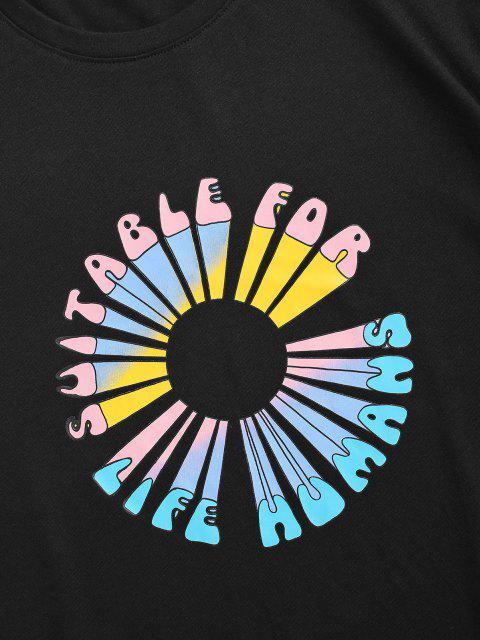 fancy Letter Flower Print Short Sleeve T-shirt - BLACK S Mobile