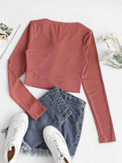 womens Rib-knit Lace-up Crop Top - RED L Mobile