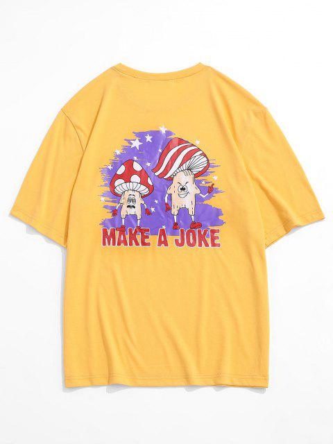 Maglietta con Stampa Grafica a Fungo e Maniche Corte - Giallo XL Mobile