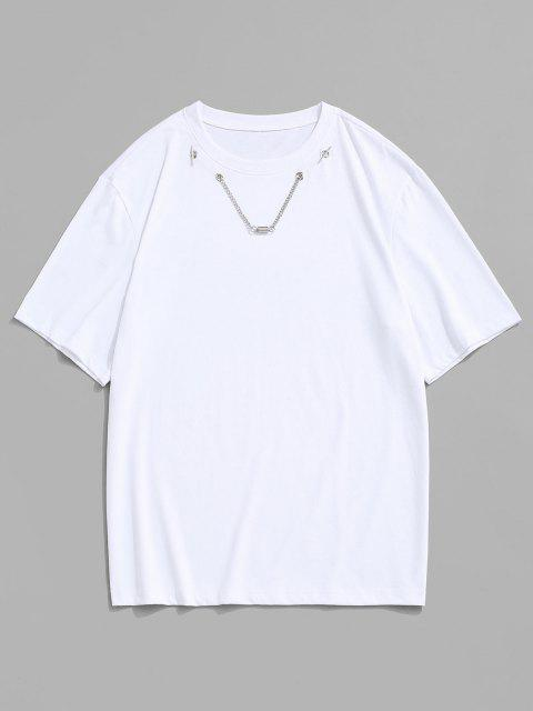 Chain Spring Detail Short Sleeve T-shirt - أبيض M Mobile