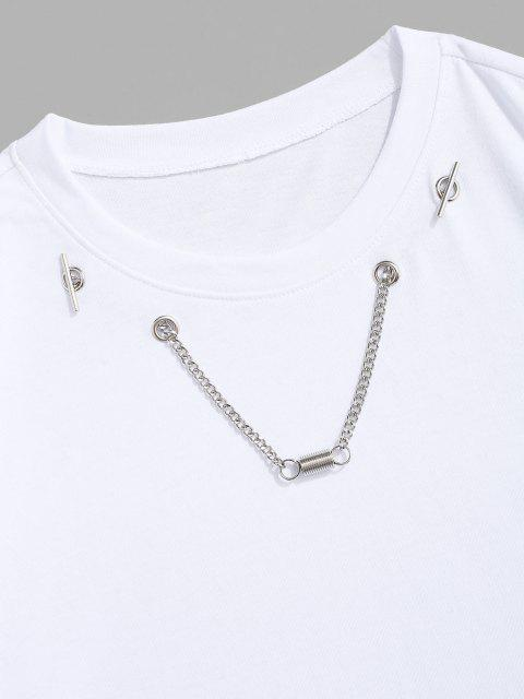 sale Chain Spring Detail Short Sleeve T-shirt - WHITE M Mobile
