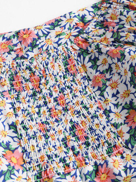 Krawatte Ärmel Bustier Kittel Blumen Kleid - Multi L Mobile