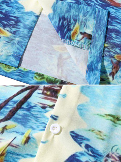 Tropisches Blatt Palme Hawaii Urlaub Hemd - Dunkles Himmelblau M Mobile