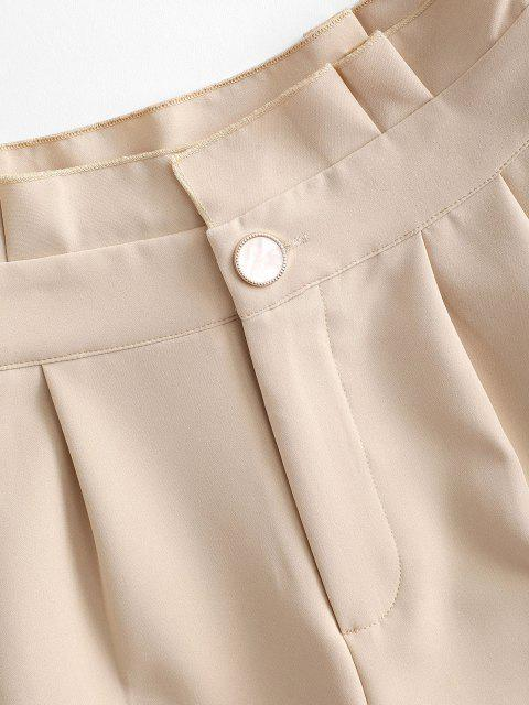 womens Ruffle Rolled Wide Leg Shorts - LIGHT COFFEE L Mobile