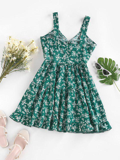 women's ZAFUL Tiny Flower Printed Flounce Tiered Dress - GREEN S Mobile