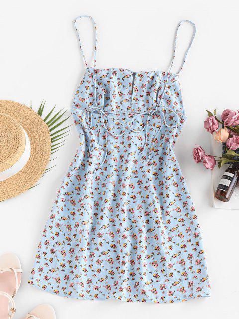 ZAFUL Geraffte Frauen Ditsydruck Sommerkleid - Hellblau XL Mobile