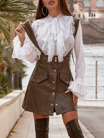 Faux Leather Button Fly Suspender Skirt - Coffee Xs