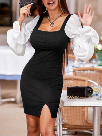 Ribbed Poet Sleeve Slinky Milkmaid Dress - Black S