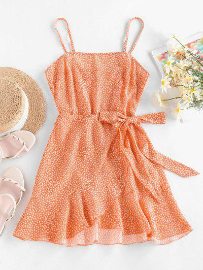 ZAFUL Ditsy Floral Knot Overlap Flounce Cami Dress - Light Orange M
