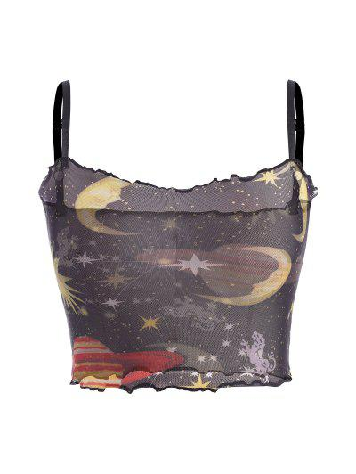 Sun Moon Star Print Mesh Lettuce Trim Top - Black S