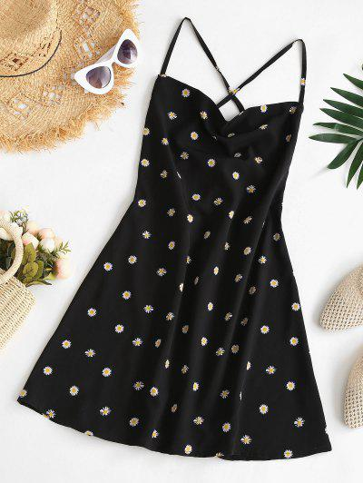 Criss Cross Lace Up Daisy Mini Dress - Black S